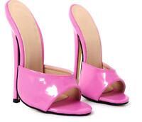 Women Man 18cm EXTREME Heel Stilettos Peep Toe Slippers Mules Sandals Nightclub