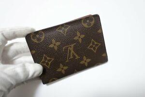 Authentic LOUIS VUITTON Monogram Brown Leather pass card case  #8578