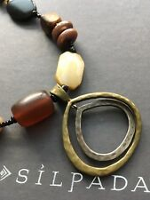 SILPADA STERLING SILVER BRASS HORN FRESHWATER PEARL NECKLACE N1787