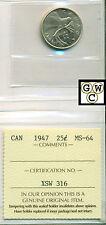 1947 Canada 25 Cent ICCS MS-64