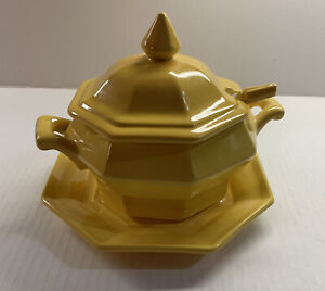 VTG Small Yellow Handpainted Ceramic Soup Tureen With Platter And Ladle