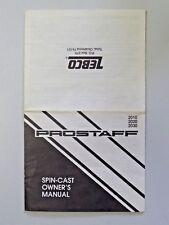Vintage Zebco Prostaff Spin-Cast Owner's Manual and Maintenance Card 1989