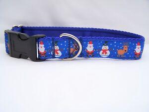 Christmas dog collar gift blue santas and snowmen for small, medium & large dogs