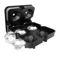 Silicone Ice Cube Tray Diamond Shape 3D Ice Cube Mould 4 Cavity Ice Ball Maker