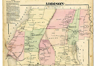 1871 Beers map of Addison Vermont from Atlas of Addison County w/family names