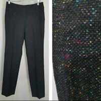 Talbots Pants 10L Women TALL Heritage Speckled Black Wool Blend Straight Trouser