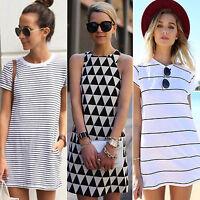 Ladies Short Sleeve Crew Neck Slim Mini Dress Casual Loose T-shirt Jumper Top