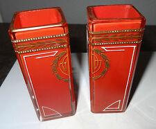 Josef Riedel pair secessionist Vases cristal rouge émaillé superbe état