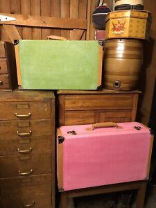 Suitcase Canvas W/leather Trim PINK NEW CUSTOM MADE Designer Mod Retro FABULOUS