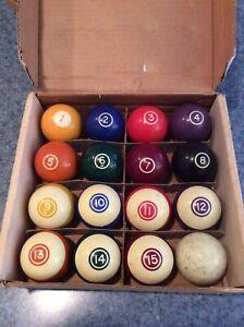 Vintage Standard Billiard Pool Ball Set Made In Belgium w/ Box
