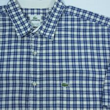 Lacoste Tattersall Check Plaid Button Front Shirt Mens XLT Tall Short Sleeve