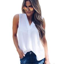 Women Fashion V-neck Casual Sleeveless Shirt Chiffon Loose Vest Tank Tops Blouse