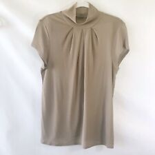 Magaschoni Taupe Sheer Cap Sleeve Ruched Turtleneck Career Casual Blouse Size M