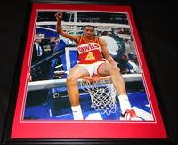 Spud Webb Signed Framed 16x20 Photo Poster JSA Hawks