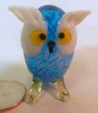 Vtg  Blown Glass OWL Bird MINIATURE Hand Crafted