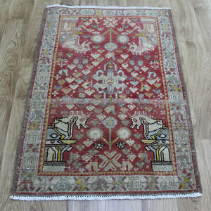 Old Traditional Hand Made Persian Oriental Wool Rug 110 X 70 CM