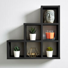 Wall Mounted 3-2-1 Step Style Storage Cube Bookcase Display In White Black Grey