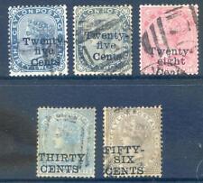 Ceylon 1885 Queen Victoria 25c 28c 30c & 56c Surcharges used (ref:2017/11/04#02)