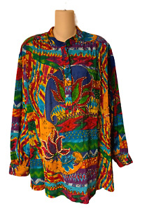 Sandy Starkman Set Top and Palazzo Pants Bohemian Art To Wear Colorful Size M