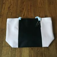 The Lovely Tote Co. Women's PU Color Block Open Tote Bag Black & Pink
