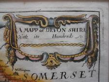 Map, Richard Blome, Devonshire, c.1673,  Antique Original, framed *