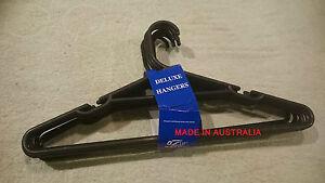 24pcs Black Plastic Clothes Hangers Made in Australia