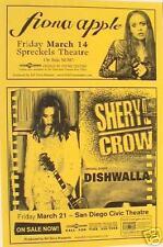 FIONA APPLE - SHERYL CROW 1997 SAN DIEGO CONCERT POSTER