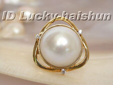 20mm natural South Sea white Mabe Pearl Ring 14KT gold