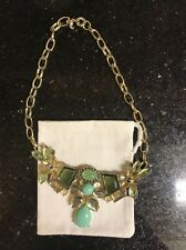 NEW J.Crew JEWEL CLUSTER NECKLACE item Gemstone Gems Green Mint Blue Clear Gold