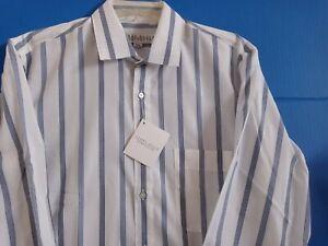 NWT Perry Ellis Blue Stripe Size Medium Cotton Blend Long Sleeve Shirt~Free S&H