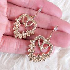 Womens Light-Gold-Color Metal Bird Flower Hollow Heart Dangle Hookie Earrings