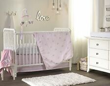 2 pc Kidsline Baby Girls Pink Cot Quilt & Fitted Sheet Nursery Crib Bedding