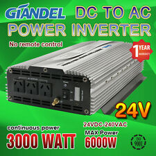 Large shell Power Inverter 3000W(6000W Max) 24V-240V With Load Power LED Display