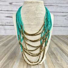 Teal and Gold Beaded Waterfall Statement Necklace Fashion Jewelry Colorful