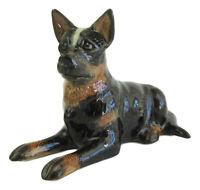 Australian Cattle Dog Lying Miniature Ceramic Figurine - Dark approx 5cm High