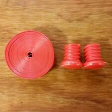 BICYCLE HANDLE BAR TAPE SOLID ORANGE WITH END PLUGS NOS