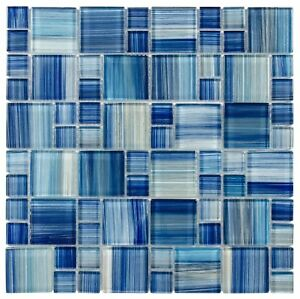 Modern French Pattern Blue Glossy Glass Mosaic Backsplash Tile Kitchen MTO0090