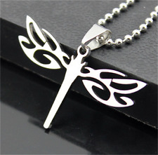 Dragonfly Womens Men's Silver 316L Stainless Steel Titanium Pendant Necklace