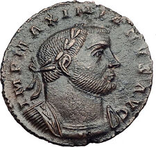 MAXIMIAN 302AD Lugdunum Follis GENIUS Altar Authentic Ancient Roman Coin i63264