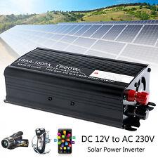 Solar Power Inverter 3000W Peak 12V To 230V Modified Sine Wave Converter Black