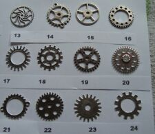 6 STEAMPUNK COGS AND GEARS ALL ARE 25mm  AND THE ALLOY IS antique silver