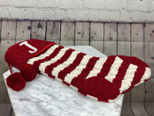 "Red And White Knit ""J"" Christmas Stocking With Red Pom Poms"