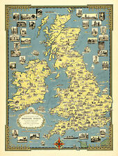 A pictorial map of the British Isles 1939 Old, Vintage  Poster - Reprint