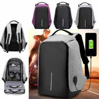 Anti-theft Mens Womens Laptop Notebook Backpack USB Charging Port School Bag 15""