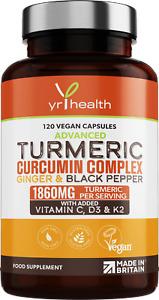 Turmeric Capsules High Strength 1860mg Curcumin Ginger Vit C Anti-inflammatory