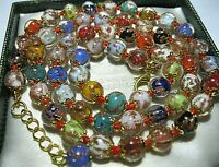 """Rainbow Venetian Murano Glass Gold Foil Bead Vintage Style 25"""" Long NECKLACE"""