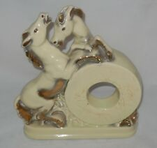Vintage Equestrian Ceramic Mantle Shelf Clock Case Fighting Stallions Horses
