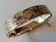 VINTAGE VICTORIAN GOLD FILLED AND ENAMELED HINGED BRACELET C2