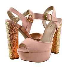 Womens Shoes Qupid Beat 49 Open Toe Chunky Glitter Heel Soft Blush *New*