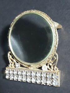 Vintage Rhinestone Magnifying Glass Gold Ormolu Desktop Magnifier